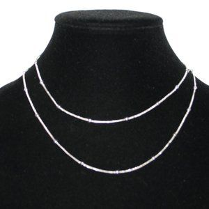"Long 34"" silver snake chain necklace with balls"
